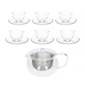 Hario - zestaw do herbaty, dzbanek + 6 filiżanek