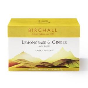 Herbata Birchall Lemongrass & Ginger - ziołowa piramidka, 20 kopert
