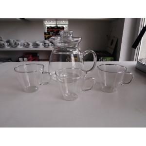 Szklany dzbanek do herbaty + 3 filiżanki